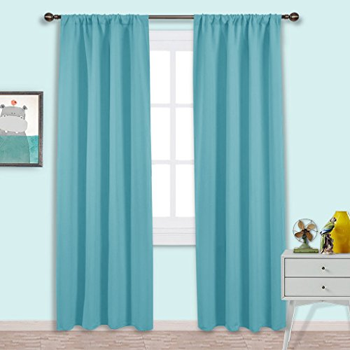 NICETOWN Blackout Curtains Window Draperies - Window Treatment Thermal Insulated Solid Room Darkening Drapes for Bedroom (Set of 2 Panels,42 by 84 Inch Long ,Turquoise Blue) Bedroom Window Treatments