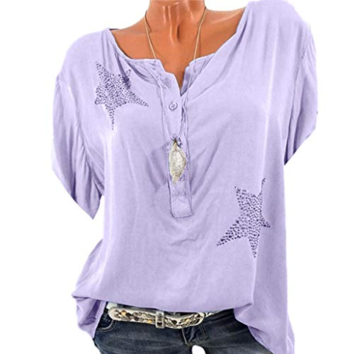 Women VintageShirt Blouse Button Five-Pointed Star Hot Drill Plus Size ()
