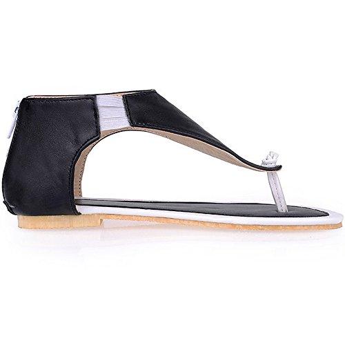 LongFengMa Women Elastic Band Zipper Clips Toe Flats Sandals Shoes Black HZOrsGld