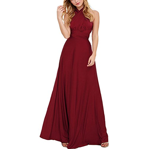 JET-BOND Infinity Night Dress Multi-Way Wrap Camisoles Halter Floor Long Dress High Elasticity FS41 (XL, Wine)