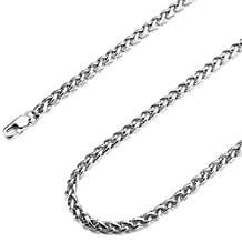 MOWOM Silver Tone 4.0mm Wide Stainless Steel Necklace Rope Chain Link 16~36 Inch