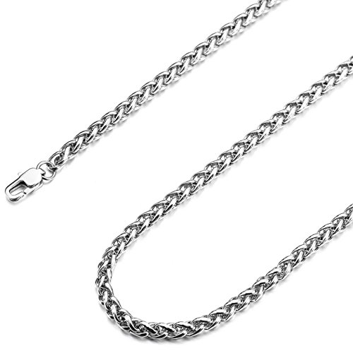 MOWOM Silver Tone 4.0mm Wide Stainless Steel Necklace Rope Chain Link 14~40 ()