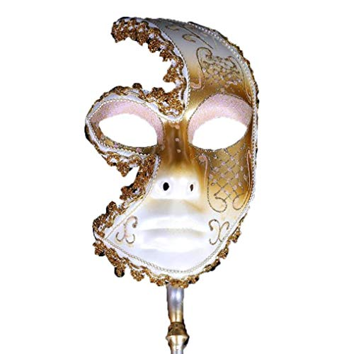 (Party Full Face Women/Men Masquerade Mask with Stick Midnight Venetian Shiny Rhinestone Masked Ball Carnival Elegant Cosplay Favors)
