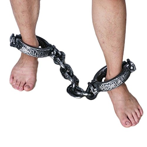 O-Toys Halloween Costume Party Trick Props Plastic Handcuffs Cosplay Wrist Hackles Prison for Women Men Costumes Supplies Favors Accessories Anime Movie Decor (Footcuffs Chain)