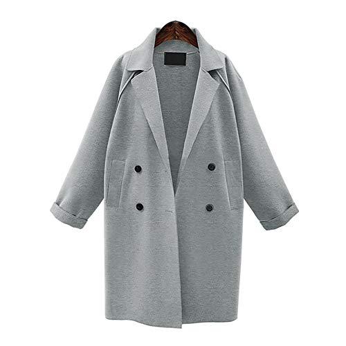 POTO Women Coats Plus Size, Women's Wool Coat Double-Breasted Pea Coat Lapel Trench Coat -