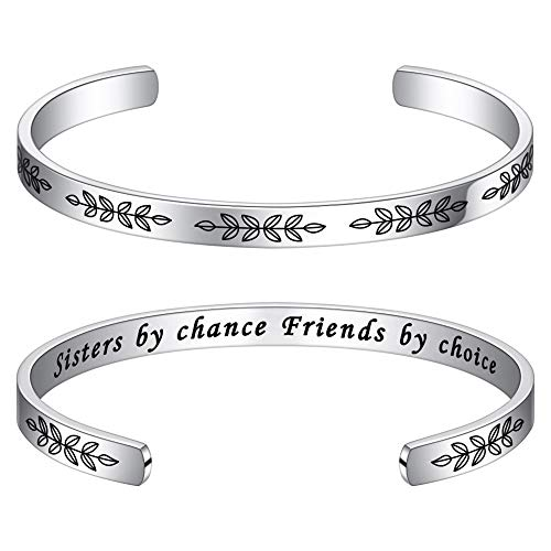 M MOOHAM Gifts for Sister in Law Bracelet - Engraved Sisters by Chance Friends by Choice Message Cuff Bangle Bracelet Sister-in-Law Birthday Christmas Wedding Jewelry Gifts for Sister of The Groom
