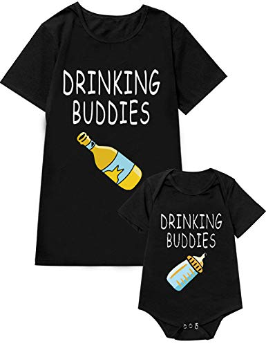 Drinking Buddies Matching Outfits Shirts for Father and Baby