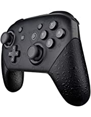 eXtremeRate Textured Black Replacement Handle Grips for Nintendo Switch Pro Controller, 3D Splashing DIY Hand Grip Shell for Nintendo Switch Pro - Controller NOT Included