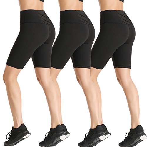 YASEN 3 Pack Womens Yoga Shorts High Waisted Tummy Control Workout Shorts for Women Black