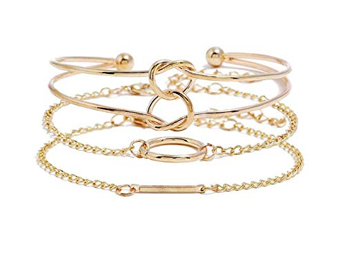 (3PCS Plated Inspirational Love Knot Stackable Open Cuff Bangle Bracelet Set for Women and Girls (Gold))