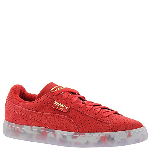 (PUMA Women's Suede Classic V2 Perf High Risk Red White Athletic Shoe)