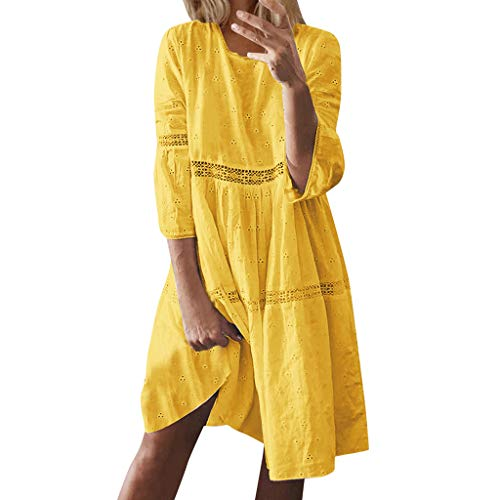 Sunhusing Ladies Summer Boho Beach Wind Solid Color Round Neck Hollow Hole Seven-Point Sleeve Knee Length Dress Yellow