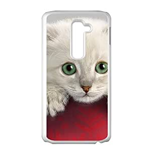 Cute Red Ball Cat White Phone Case for LG G2