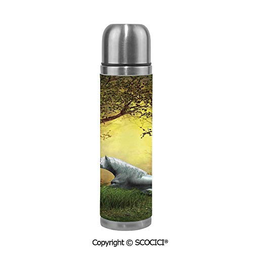 (Travel Mug Thermos Food Grade Water Bottle Enchanted Forest Fantasy Magical Willow Trees Wildflowers Woodland Animal Folklore Insulation Cup Leak Proof No Spill Lid Thermoses 500 ML )
