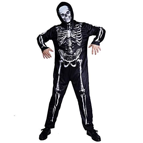 PGOND Men's Halloween Skeleton Jumpsuit Costume Black