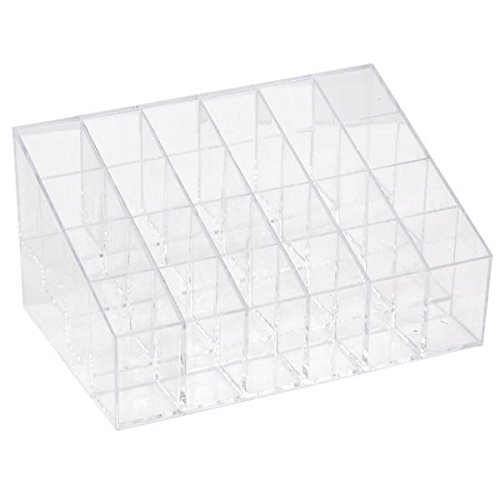 Go2buy Acrylic Lip Gloss Transparent Cosmetic Makeup Organizer for Lipstick, Brushes, Bottles, Clear Case Display Rack Holder, 24 Space Storage