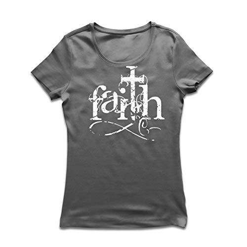 lepni.me Women's T-Shirt Faith in The Lord Jesus Christ - Christian Cross Symbol (XX-Large Graphite Multi Color) Christian Womens Ringer T-shirt