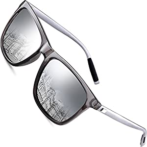 wearPro Wayfarer Sunglasses for Men Polarized Vintage Men`s Sun Glasses WP1003 (silver, 2.16)