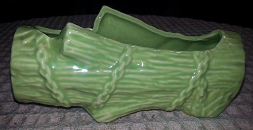 "Vintage 7"" McCoy Light Green Log Planter w Luster Finish"