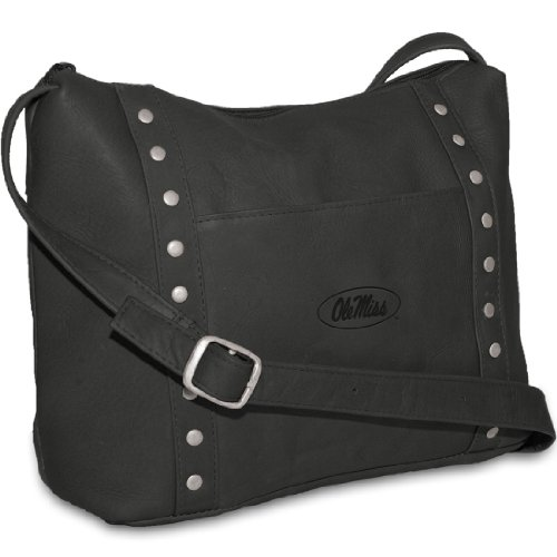 NCAA Ole Miss Rebels Black Leather Women's Top Zip Handbag