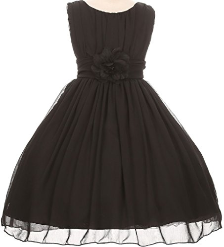 Big Girls' Elegant Yoryu Wrinkled Chiffon Summer Flowers Girls Dresses Black 14 G35G34 (Kids Black Dresses)
