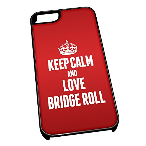 Nero cover per iPhone 5/5S 0863Red Keep Calm and Love Bridge roll