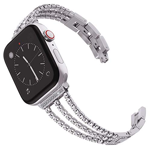 Surace Compatible for Apple Watch Bands 38mm 40mm Women Bracelet Replacement for iWatch Bands 38mm Womens Compatible for Apple Watch Band 40mm Series 4 Series 3 Silver Gray