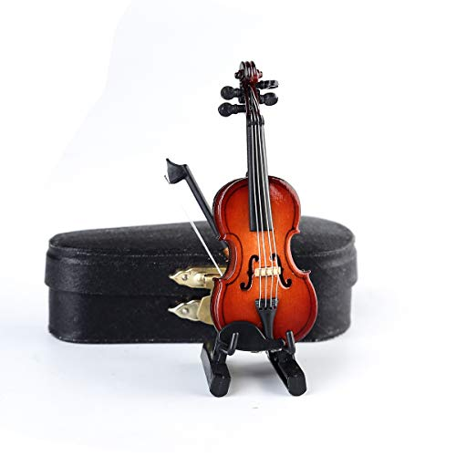 Seawoo Wooden Miniature Violin with Stand,Bow and Case Mini Musical Instrument Miniature Dollhouse Model Ornament Home Decoration (3.15