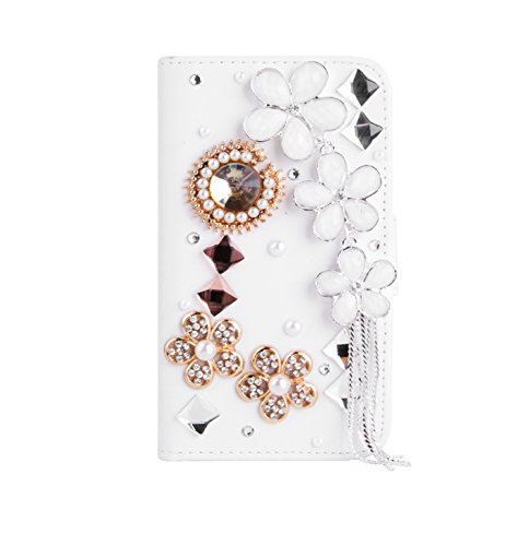 Magic Global Gadgets - 3D Luxury Diamond Ruby Jewels Leather Wallet Card Slot Book Case Cover Pouch For Apple iPod Touch 5 5th Generation iPod 5 With Screen Guard, Cleaning Cloth & Stylus Pen (White - Ruby Jewels Wallet)