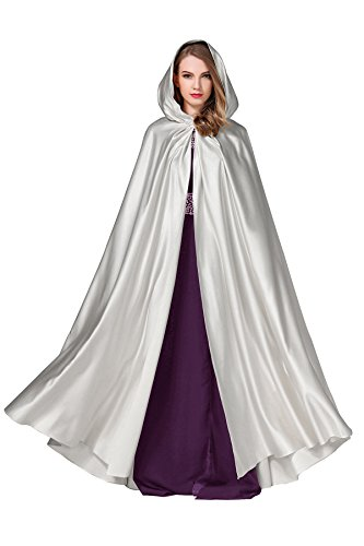 BEAUTELICATE Women's Wedding Hooded Cape Bridal Cloak Poncho Full Length Light Silver,One Size