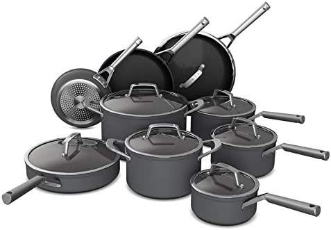 16-Pieces Slate Grey Ninja Foodi NeverStick Premium Hard-Anodized Cookware Set Nonstick Durable Double-Riveted Handles and Oven Safe up to 500 Degrees