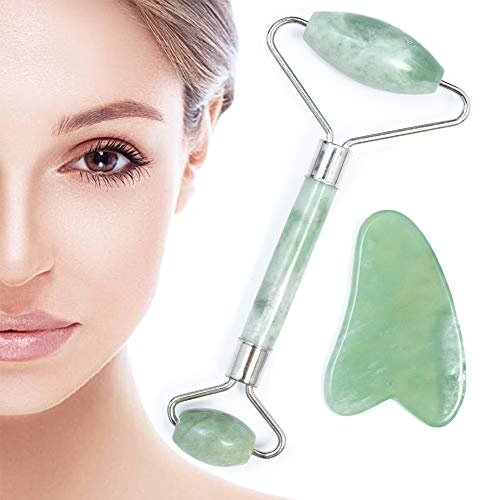 Jade Roller for Face - Massager Anti Aging Facial Therapy -Puffiness Facial Skin Treatment Real 100% Natural Jade Roller Jade Massage Roller and Gua Sha Set Premium(Olive green)