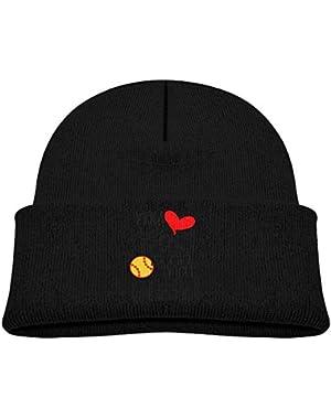 Fashion My Heart is On Softball Field Printed Newborn Baby Winter Hat Beanie