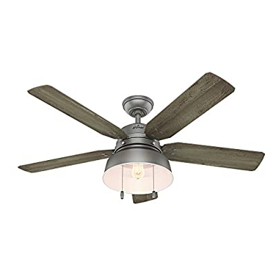 "Hunter Fan Company 59308 Mill Valley 52"" Ceiling Fan with Light, Large, Matte Silver"