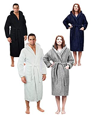 Hooded Terry Bathrobe for Women and Men, Turkish Cotton Terry Cloth Robe