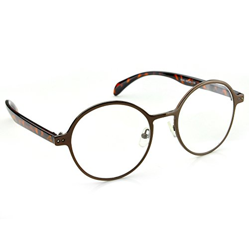 PenSee Oval Round Circle Eye Glasses Large Oversized Metal Frame Clear Lens