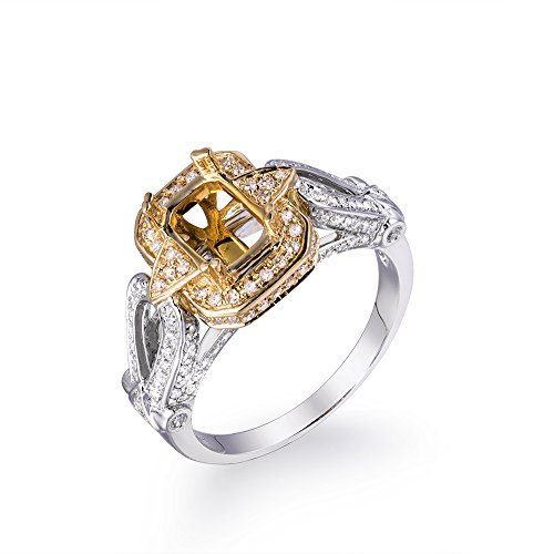- Lanmi 14K Multi Gold Women's Bridal Emerald 6X8mm Round Natural Diamond Semi Mount Ring