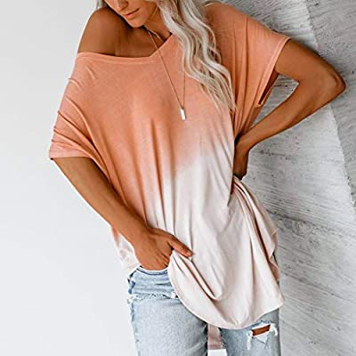 Hurrybuy Womens Summer Tops V-Neck Gradient Color Block Short Sleeve Casual T-Shirt Blouses: Clothing
