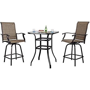 Amazon Com 3 Pc High Top Bistro Table Chairs Set Slingback