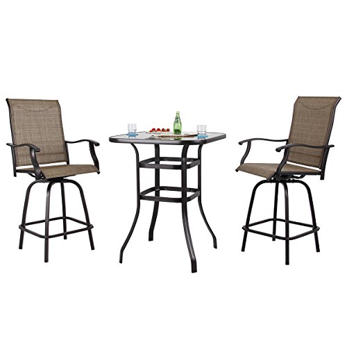 PHI VILLA Patio 3 PC Swivel Bar Sets Textilene High Bistro Sets, 2 Bar Stools and 1 Table, Brown For Sale