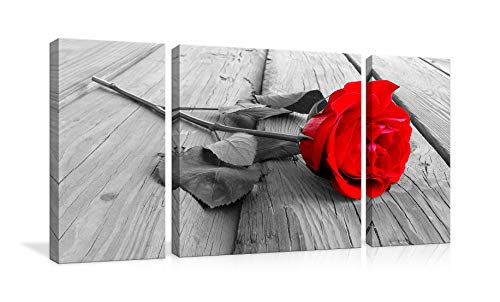 - Red Rose Floral Black White Flower on Grey Wooden Board Canvas Wall Art Pictures Prints 3 Panel Canvas Prints Artwork Modern Paintings Wall Art Home Decoration Stretched and Framed Ready to Hang