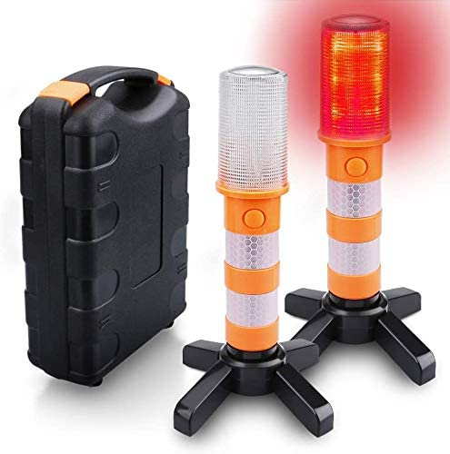 8 Premium Storage Bag LED Road Flares Safety Flashing Warning Light Roadside Emergency Disc Beacon Kit for Vehicles Boats with Magnetic Base /& Hook 8 Pack Batteries Not Included