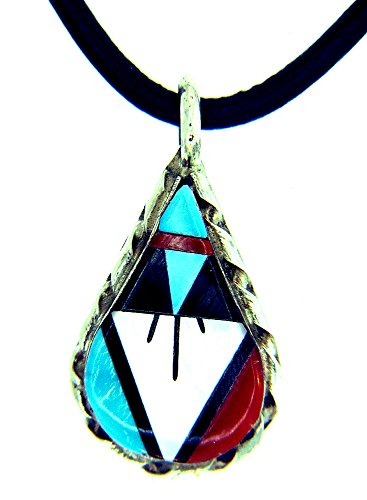 BY Zuni Artist WC Noche Sterling Silver Native American Multi-color necklace