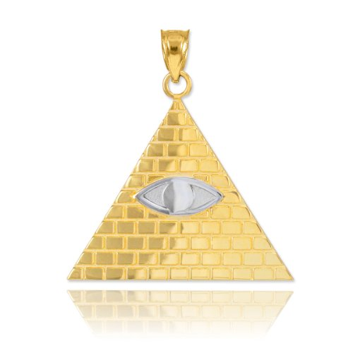 Fine 10k Two-Tone Gold Pyramid Charm All Seeing Eye of Providence Illuminati Pendant