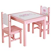 SONGMICS Kids Wood Table and 2 Chairs Set for Toddles Children's Day Gift Girls Owl Theme Pattern Pink ULKF01PK