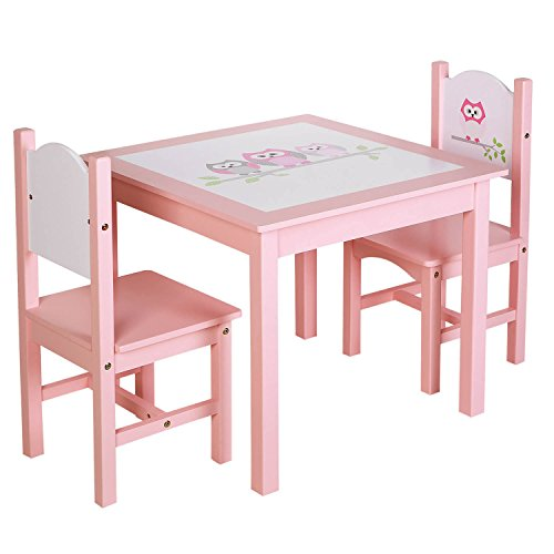 Everything Furniture Dining Table - SONGMICS Kids Wood Table and 2 Chairs Set for Toddles Children's Day Gift Girls Owl Theme Pattern Pink ULKF01PK
