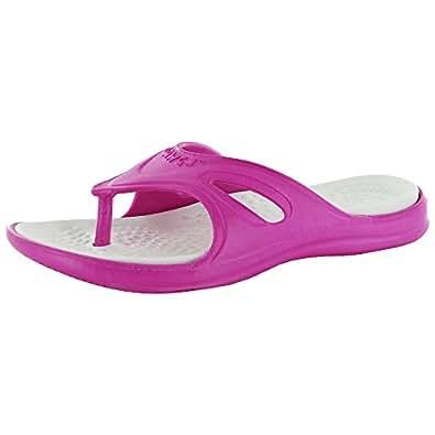Dawgs Womens Original Flip Flops Slip On Thong Sandal Shoe,Pink/White,US 6