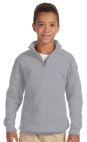 Jerzees Big Boys Quarter-Zip Cadet Collar Sweatshirt, Oxford, Large - Cadet Collar Oxford