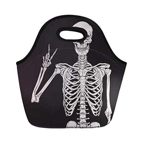 Semtomn Neoprene Lunch Tote Bag Skull Human Skeleton Posing Over Halloween Grave Hand Vintage Reusable Cooler Bags Insulated Thermal Picnic Handbag for Travel,School,Outdoors, -