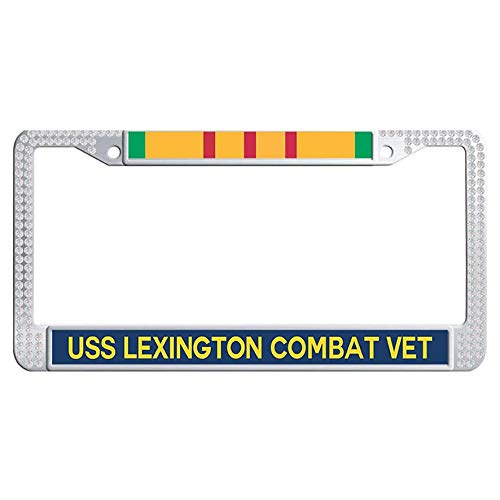 Hensteelna USS Lexington CV-16 Vietnam Combat Veteran Sparkle Rhinestones Car Auto Tag Frame U.S. Navy Military Glitter Diamond License Plate Covers(White,1 pic, 6' x 12' in)
